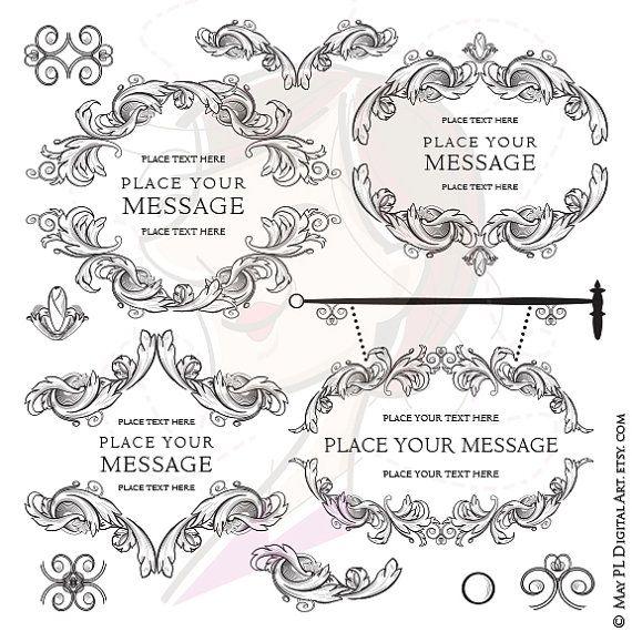 Digital Download Frames Acanthus Vintage Signage Renaissance Flourish-Borders Swirl Scroll Classic Filigree Heraldic Foliage Clip Art 10609
