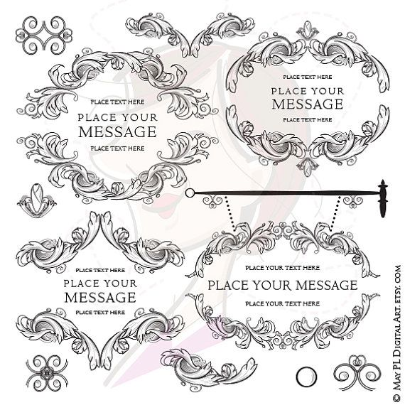 Digital Stamp Design Flourish Rose Border Corner Clip Art: 17 Best Ideas About Flourish Border On Pinterest