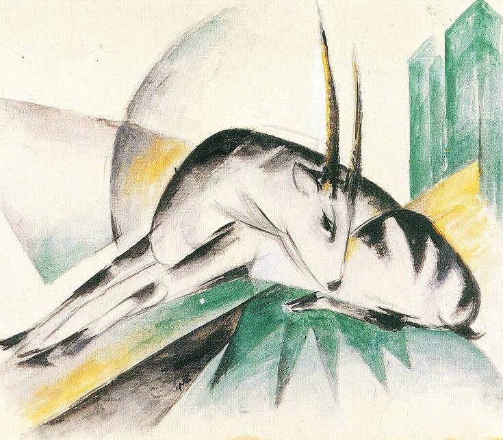 ✅ Franz Marc Antilope Gazelle Bild auf Leinwand / Leinwandbilder / Kunstdruck kaufen im Online Shop