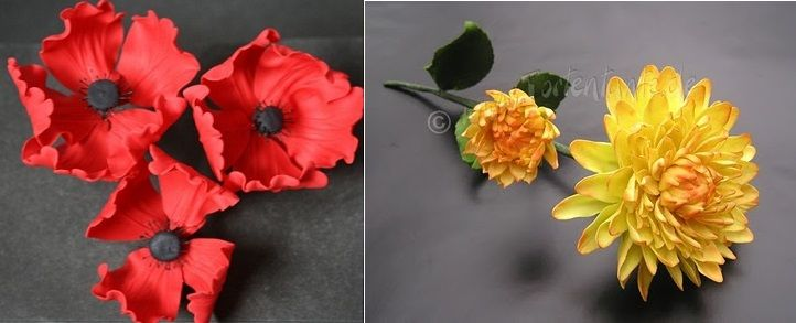 poppy tutorial sugar flower from Cake Journal left and dahlia tutorial from Tortentante right