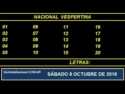 Quiniela - El Video oficial de la Quiniela Vespertina Nacional del día Sabado 8 de Octubre de 2016. Info: www.quinielanacional.com.ar