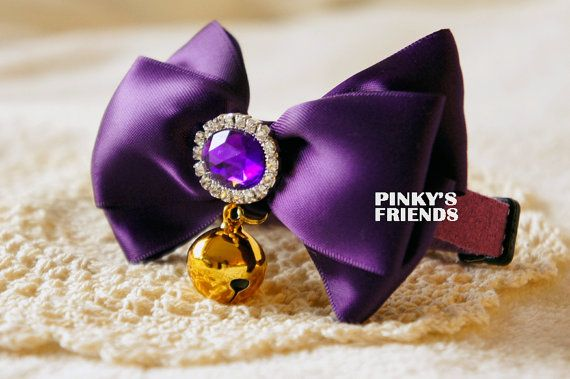 Cute Violet/Purple Ribbon Pet Bow Tie Collar with Bell and Gem, Pet Collar for Cats/Dogs