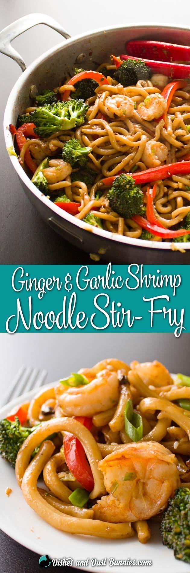 Ginger Garlic Shrimp Noodle Stir Fry from dishesanddustbunnies.com