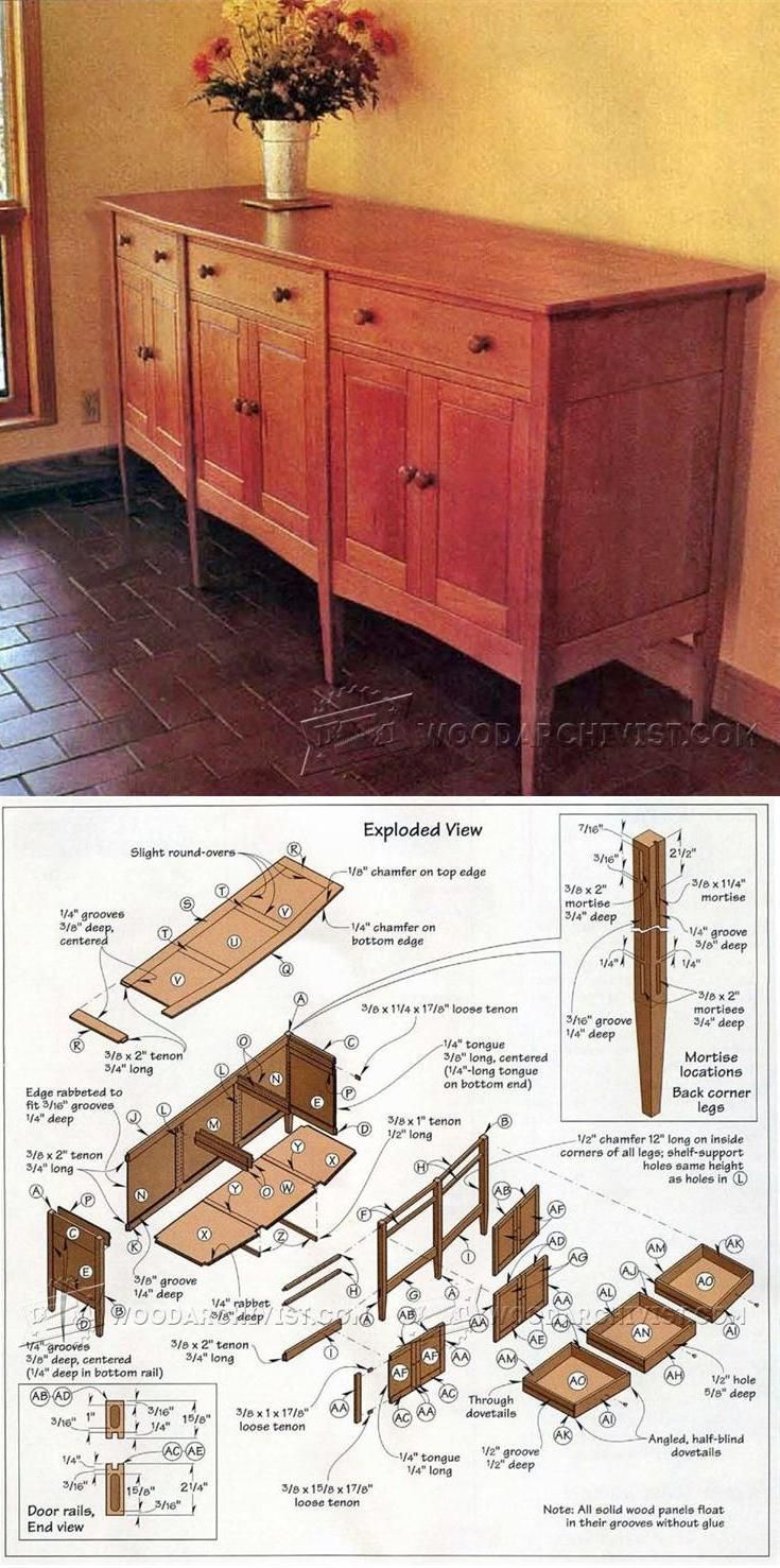 Angle-Front Sideboard Plans - Furniture Plans and Projects | WoodArchivist.com