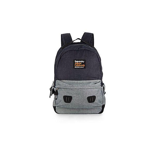 Superdry Raw Denim Backpack (€45) ❤ liked on Polyvore featuring bags, backpacks, true denim, knapsack bag, rucksack bag, two tone bag, superdry and backpack bags