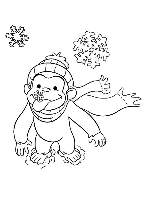 The Baby Curious George Coloring Page Curious George Coloring Pages Monkey Coloring Pages Christmas Coloring Pages