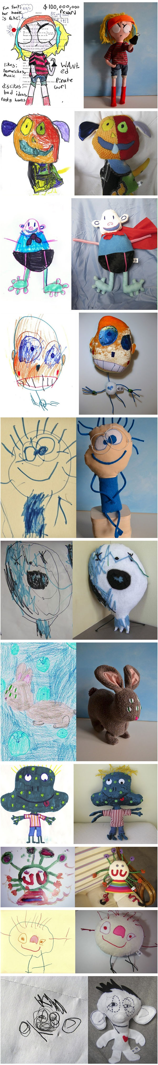 Maskotki na podstawie rysunków dzieci