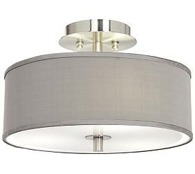 gray faux silk 14inchw flushmount ceiling light