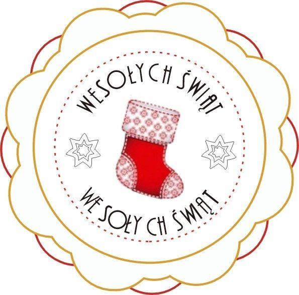 Etykieta Wesołych Świąt - świąteczna skarpeta
