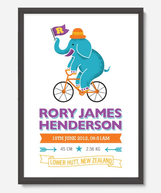 Art Prints : Personalised Birth Print - Cycling Elephant