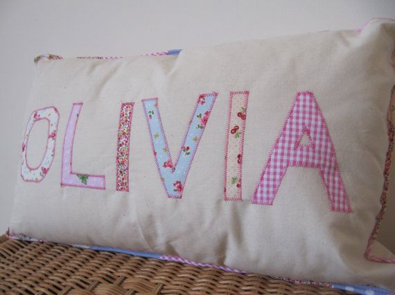Personalized Name Letter Applique Pillow Cushion Girls
