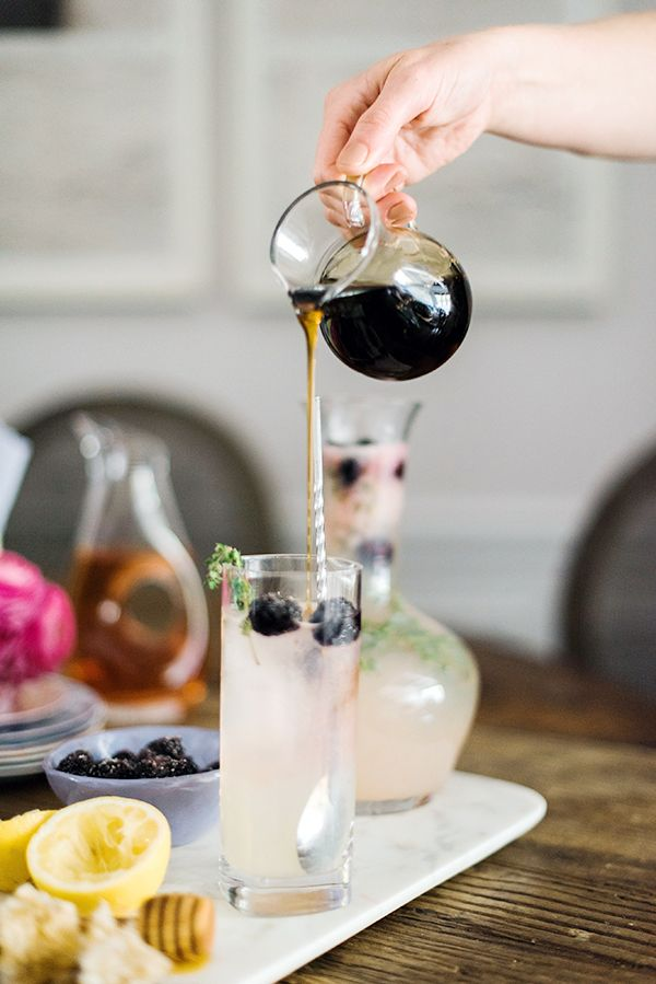 Honey Thyme Lemonade with Sugared Blackberries recipe (and great syrup shot!)