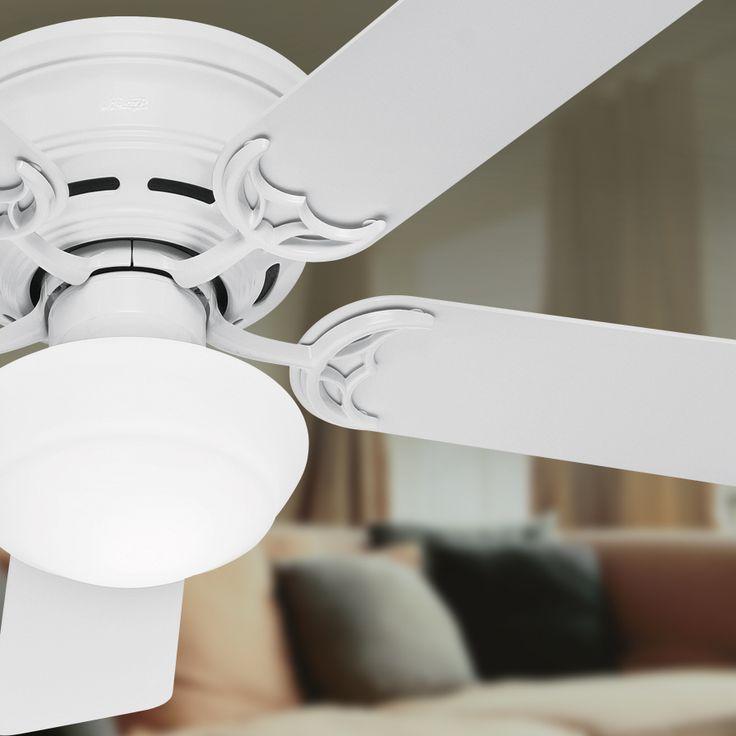 shop hunter low profile iii plus 52in white flush mount ceiling fan with light - Flush Mount Ceiling Fans