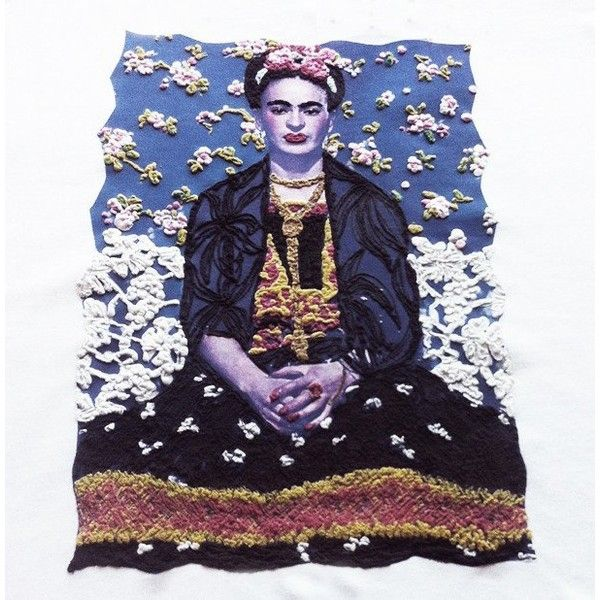 Frida Kahlo ART WORK T-shirt Painted 3d Made To Order (€50) ❤ liked on Polyvore featuring tops, t-shirts and frida kahlo t-shirt