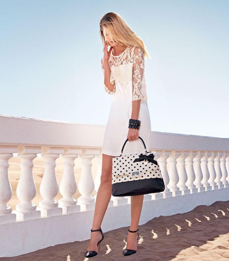 TWIN-SET Simona Barbieri: Dress with lace details, polka dot satchel bag and high heel sandal