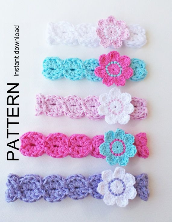 INSTANT DOWNLOAD PATTERN Pdf, Crochet Pattern, Flower Headbands, Baby to Adult sizes, Quick and easy , English terms, great Photo tutorial!
