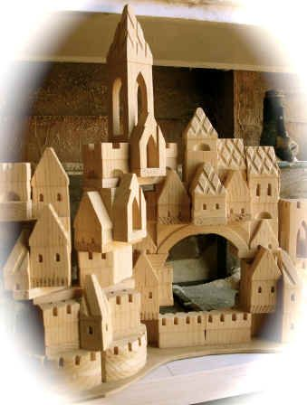 "I am in love with these! I SO need a set for my classroom. Love that they are wooden, not painted and hand carved. "" Handmade wooden toy Castle building blocks """