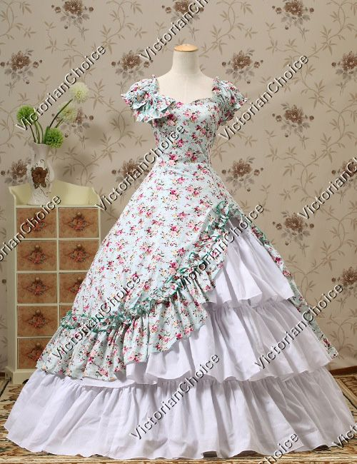 Southern Belle Ball Gown Dress Reenactment Halloween Costume Victorian