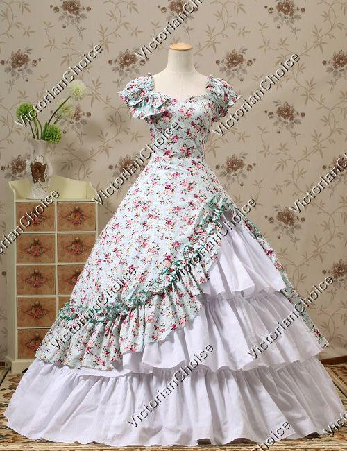 Southern Belle Ball Gown Dress Reenactment Halloween Costume Victorian