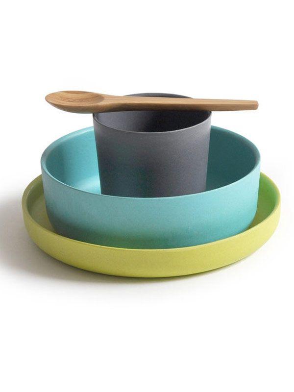 Plastikfreies Kindergeschirr Set - Becher, Schale, Teller, Löffel von Biobu by Ekobo