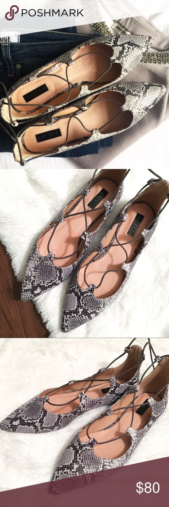 Topshop Lace Up Pointy Flats New with tags Topshop snake print lace up pointed flats - sold out online! Size is US 7.5 and is in perfect condition 😍 Topshop Shoes Flats & Loafers