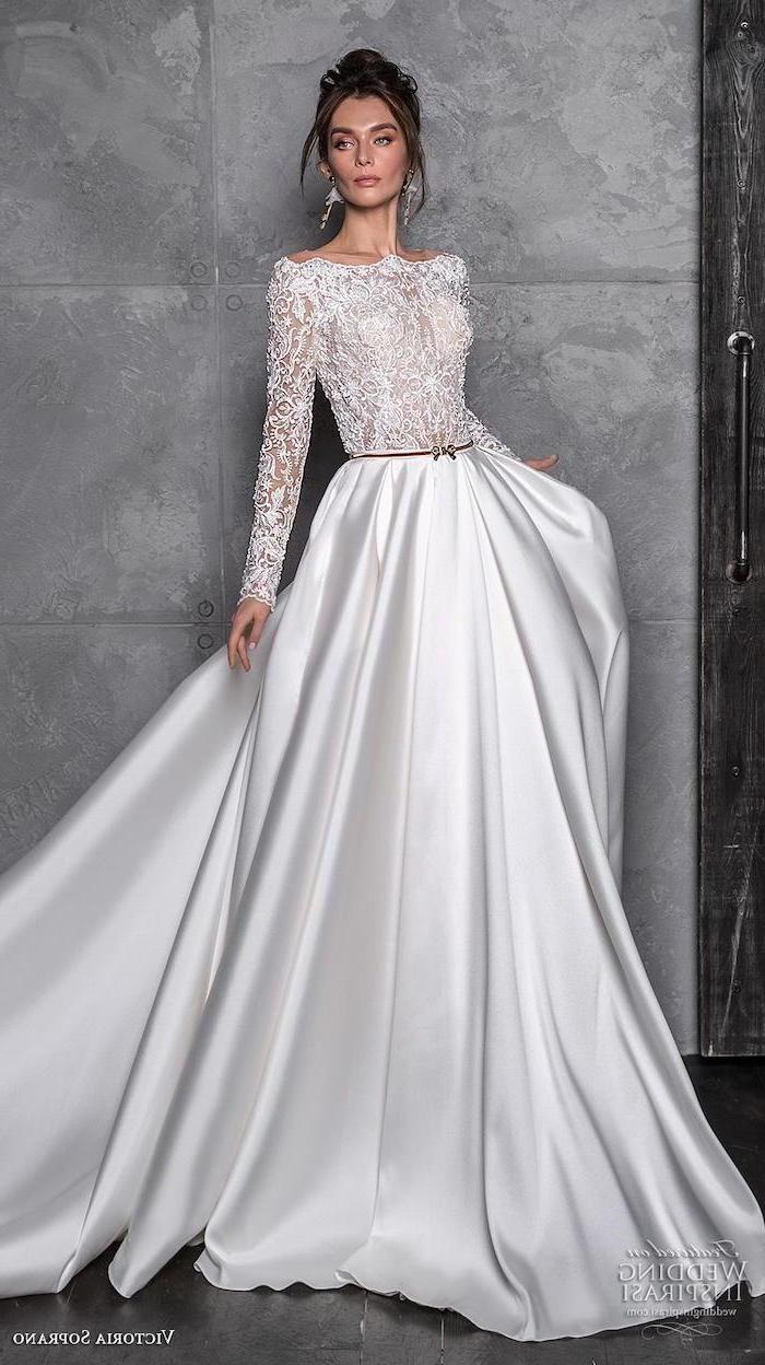 Satin Bottom Lace Top Off Shoulder Long Sleeves Flowy Wedding Long Sleeve Wedding Dress Backless Wedding Dress Long Sleeve White Long Sleeve Wedding Dress