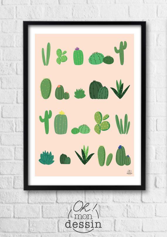 affiche illustration a4 encadrer les cactus par. Black Bedroom Furniture Sets. Home Design Ideas