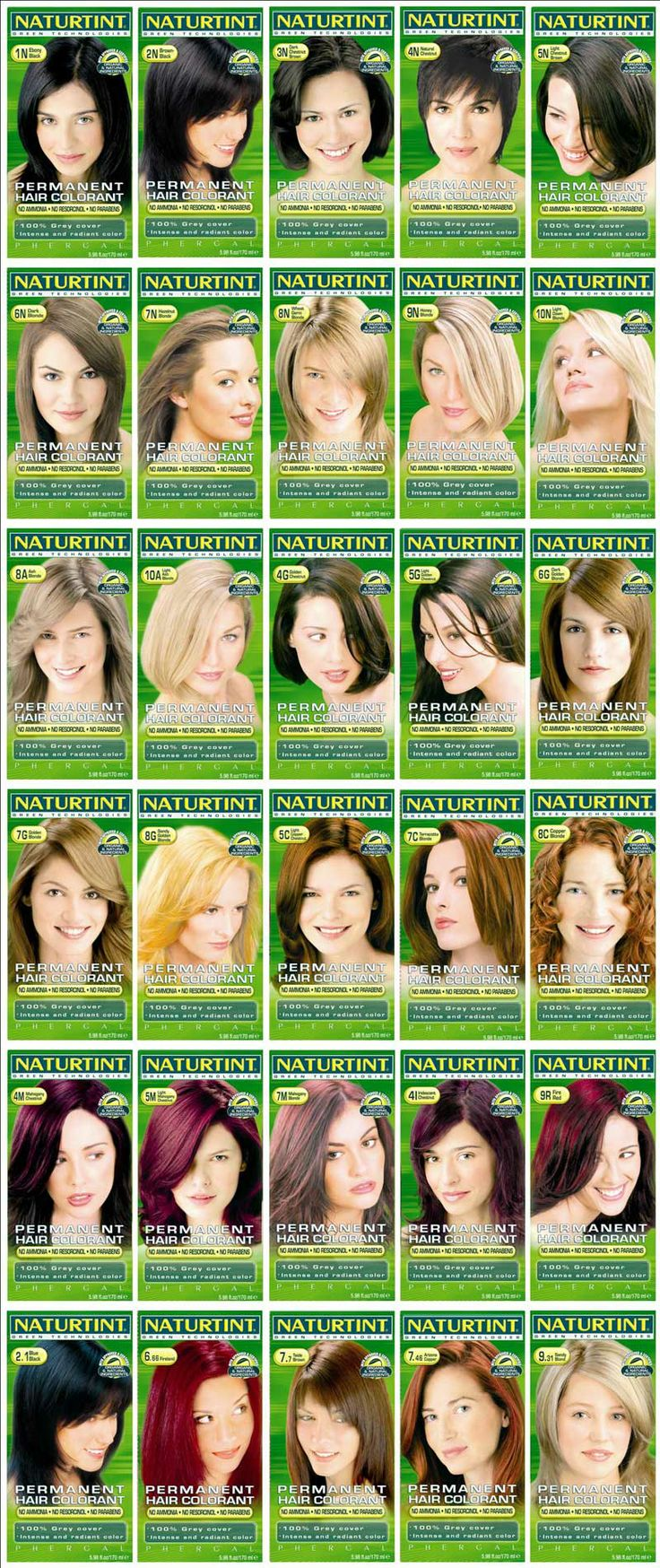 Naturtint Permanent Hair Colourant: colour chart Plant based colorants. I use the 2N and love it!