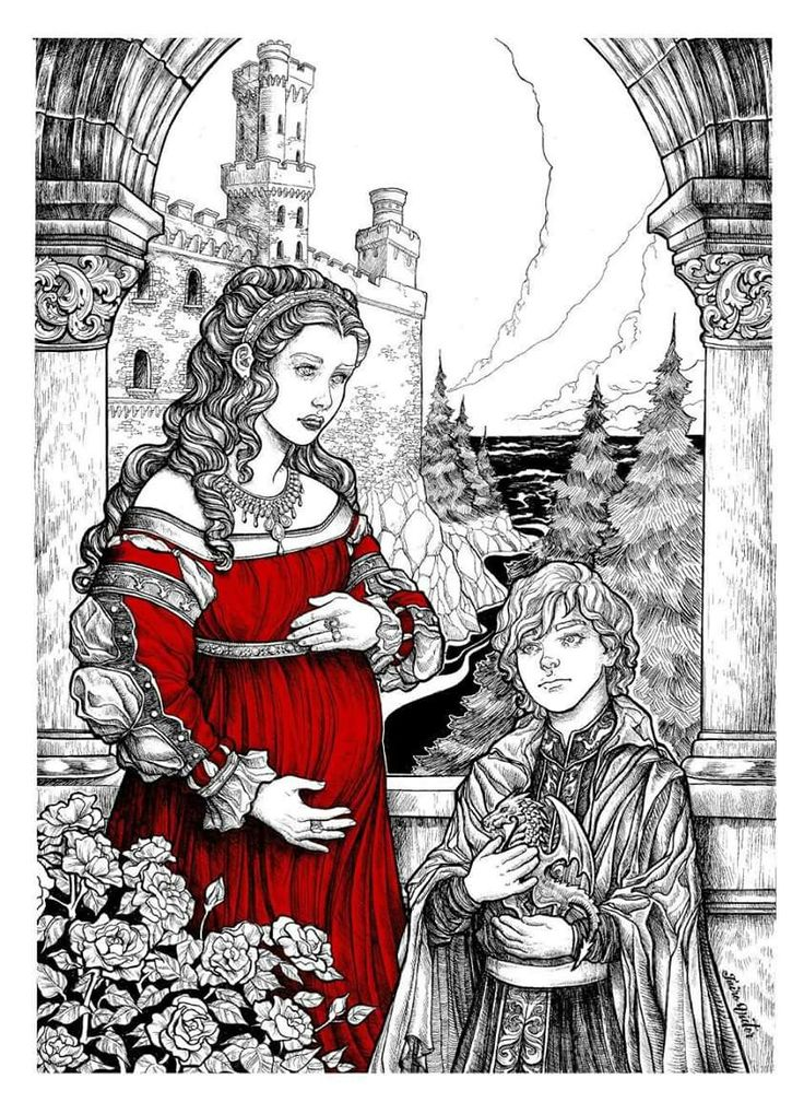 """O Primeiro dia da Tragédia de Daenerys Targaryen  """"BIRDS FLEW AND couriers raced to bear word of the victory at the Ruby Ford. When the news reached the Red Keep, it was said that Aerys cursed the Dornish, certain that Lewyn had betrayed Rhaegar. He sent his pregnant queen, Rhaella, and his younger son and NEW HEIR, Viserys, away to Dragonstone, but Princess Elia was forced to remain in King's Landing with Rhaegar's children as a hostage against Dorne."""" (TWOIAF)"""