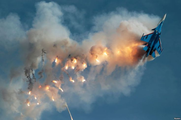 August 27, 2017:  Sukhoi Su-30SM fighter of the Russkiye Vityazi (Russian Knights) aerobatic team performs at the ARMY 2017 International Military-Technical Forum at the Kubinka airbase outside Moscow, Russia.