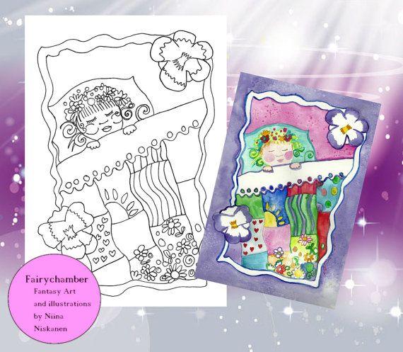 Baby Girl - Digital Stamp - Instant Download - Arts & Crats - by Niina Niskanen