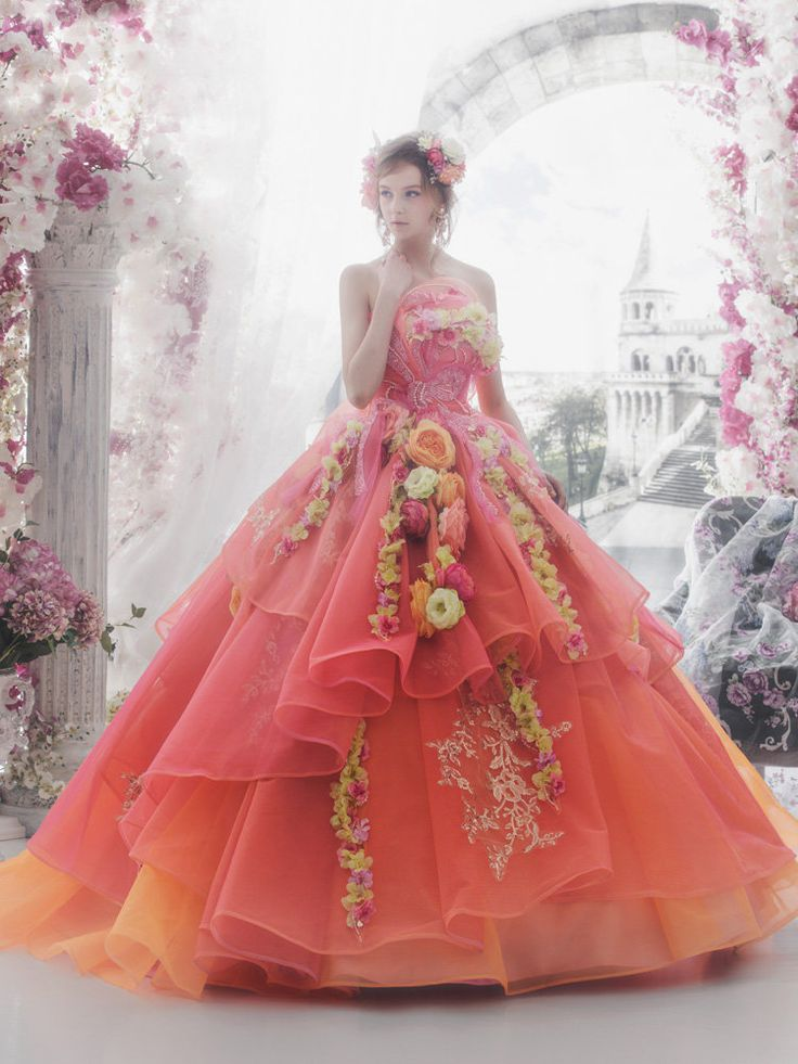 Designer, Matsuo breaks rank with this trendsetting wedding dress. In peach and tangerine ombre, this may well be the future of bridal fashion. Enjoy RUSHWORLD boards, UNPREDICTABLE WOMEN HAUTE COUTURE, ART A QUIRKY SPOT TO FIND YOURSELF and MOOD BUSTERS FEEL BETTER NOW. Follow RUSHWORLD on Pinterest! New content daily, always something you'll love!