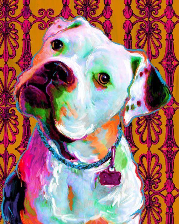 Riley the American Bulldog print