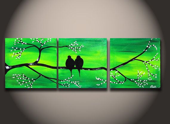 Original Painting green abstract Love Bird Art Romantic Sunset tree and flower with Cherry Blossoms Ready to Ship 60x20 landscape canvas