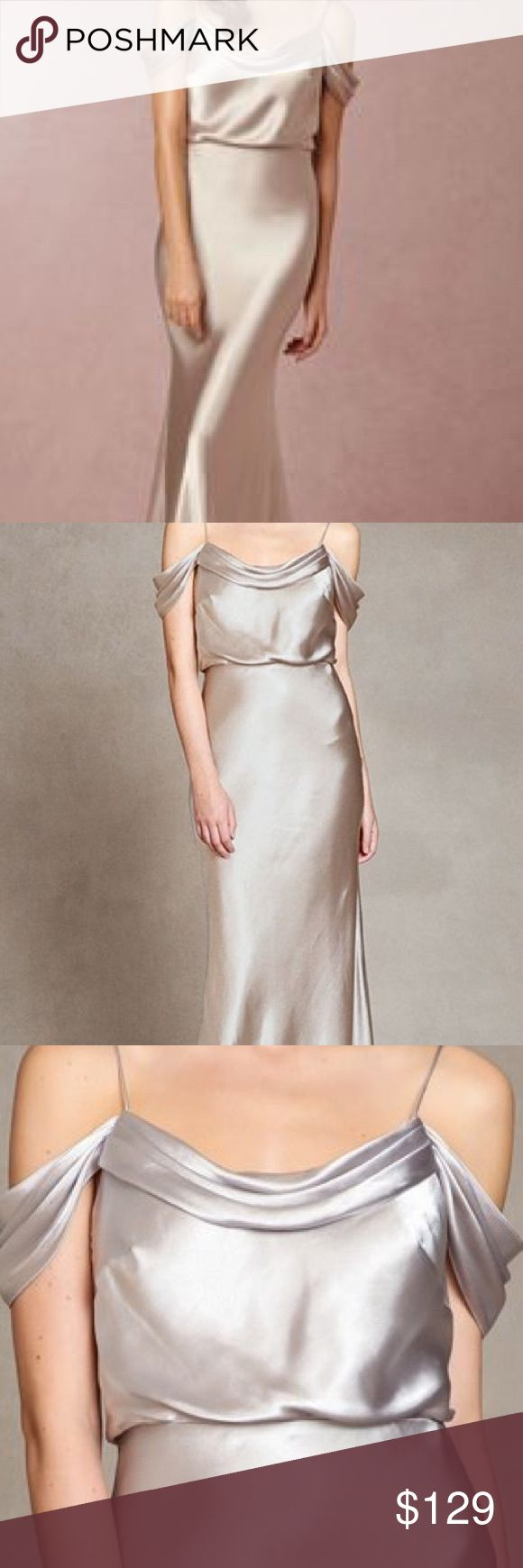 "Jenny yoo Sabine crepe de chine bridesmaid gown 6 A beautifully draped neckline and graceful dropped shoulders—that can also be styled as cap sleeves—enhance the romantic appeal of this lovely crepe dress. A nipped-in natural waist above the curve-skimming flared skirt creates a universally flattering silhouette. 61"" length  Hidden back-zip closure. Pleated cowl neckline. Flared, floor-sweeping skirt. Fully lined. 100% polyester. Jenny Yoo Dresses Wedding"