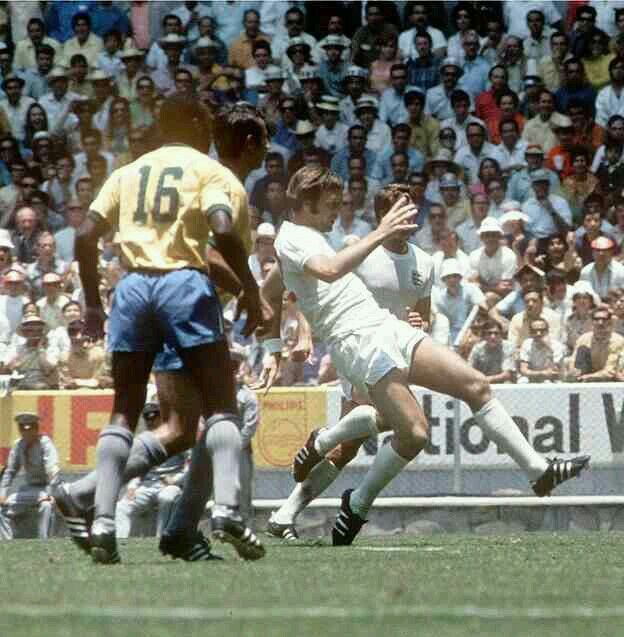 Brazil 1 England 0 in 1970 in Guadalajara. Substitute Jeff Astle misses a sitter right at the end of this Group 3 classic at the World Cup Finals.
