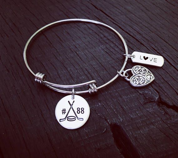 Hockey Stamped Bracelet  Hockey Jewelry  Hockey Player
