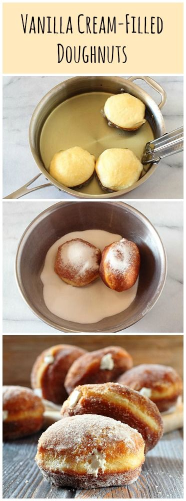 Vanilla Cream-FIlled Doughnuts made with biscuit dough!