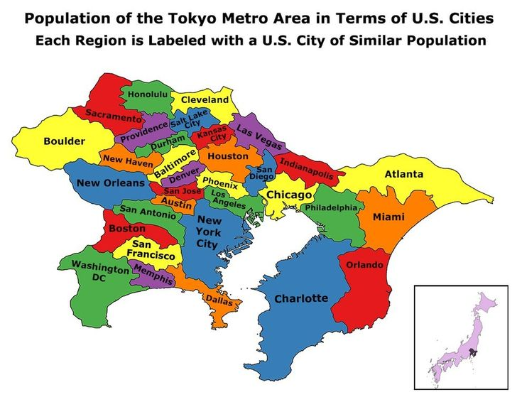 This Is The Tokyo Metropolitan Area Compared To Us Cities So Not Like With Like
