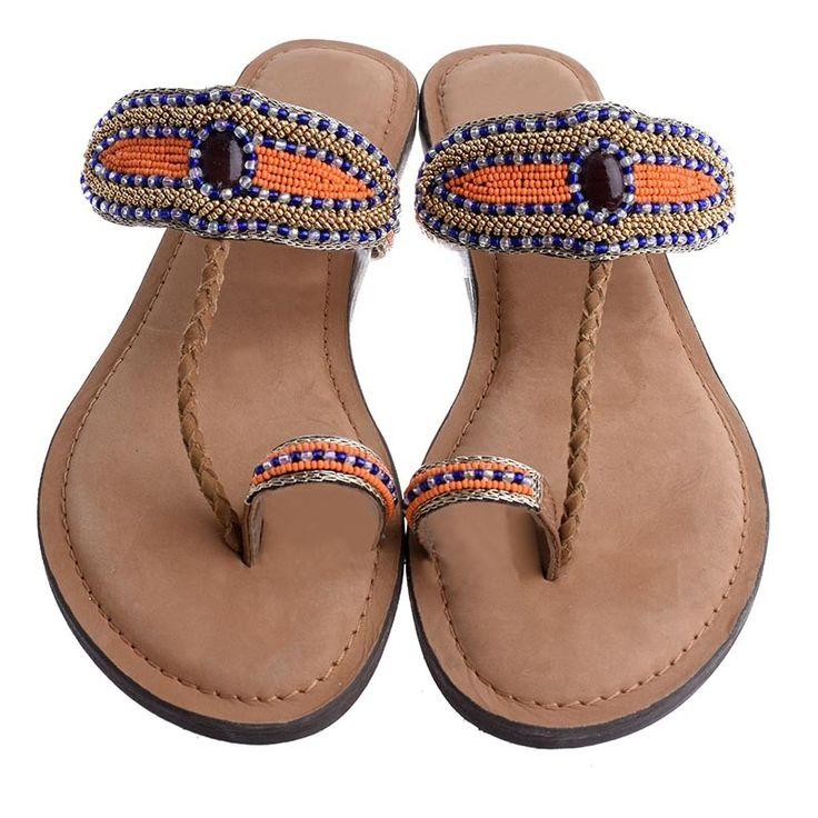 LEATHER SANDAL- ORANGE COLOR - Sandals