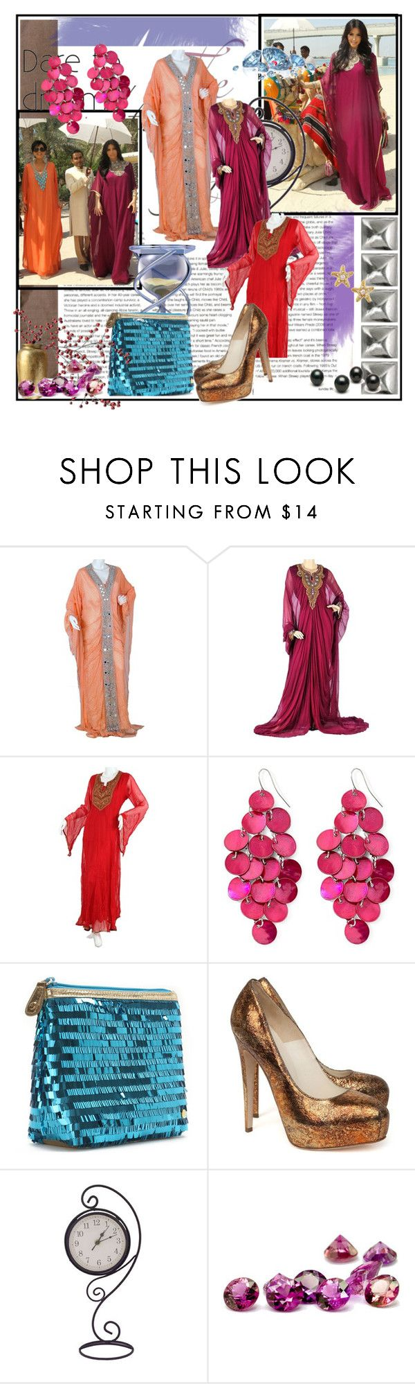 """Kardashian Kaftan"" by aljalabiya ❤ liked on Polyvore featuring Mixit, Stephanie Johnson, Brian Atwood, Juicy Couture, jalabiya, kaftans, kardashian and kaftan designs"