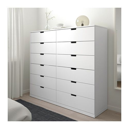 NORDLI Kommode med 12 skuffer, hvid hvid 160x145 cm