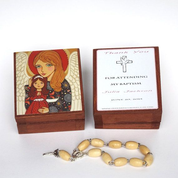 Guardian Angel prayer box Angel box Rosary box Keepsake box Guardian angel gift First communion gift First communion favor Confirmation gift