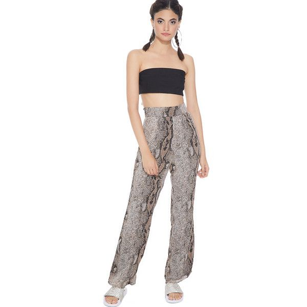 Snake Print Flowy Pants ($48) ❤ liked on Polyvore featuring pants, high-waisted trousers, highwaist pants, straight leg trousers, white straight leg trousers and snake print pants