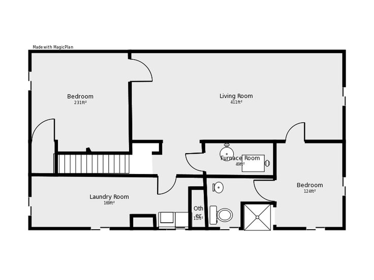 Basement floor plan flip flop stairs and furnace room for Basement design layouts