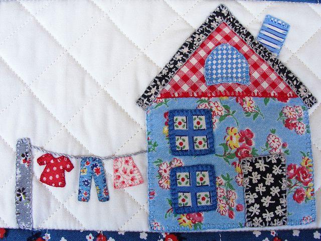 house & clothesline applique