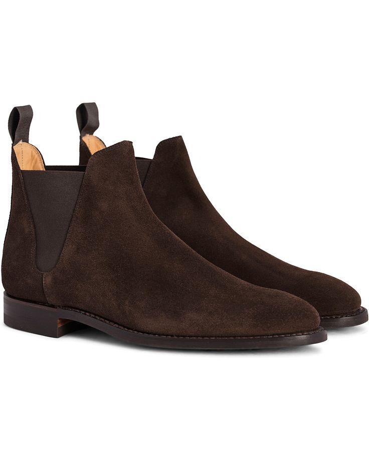 Crockett & Jones Chelsea 8 Boot Dark Brown Suede i gruppen Sko / Støvler / Chelsea boots hos Care of Carl (12051011r)