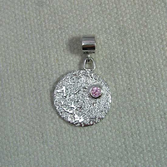 Sterling silver fingerprint charm with rose crystal stone