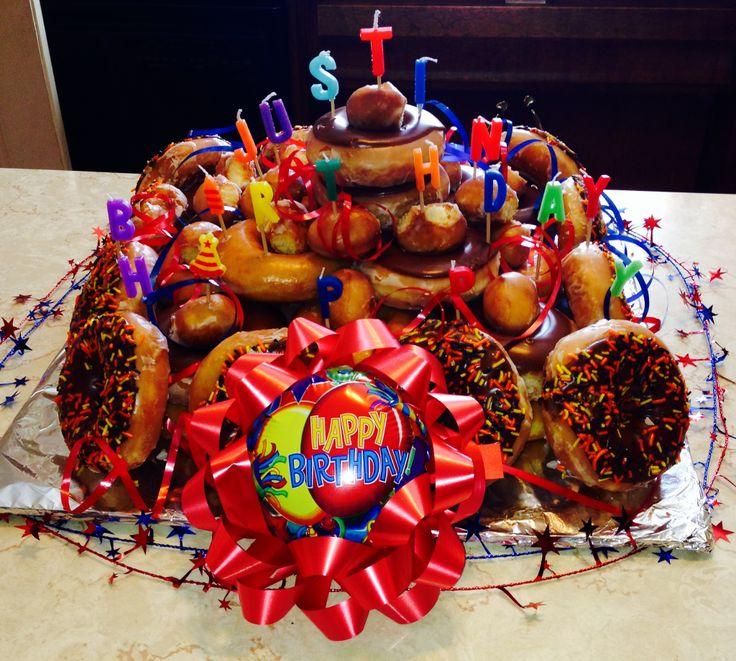 My kids made this Krispy Kreme donut cake for my son's