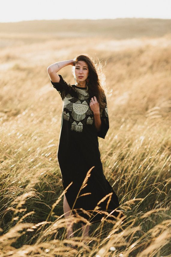 Oona || Black Maxi Dress with Side Vents, gold maxi dress, embellished dress…